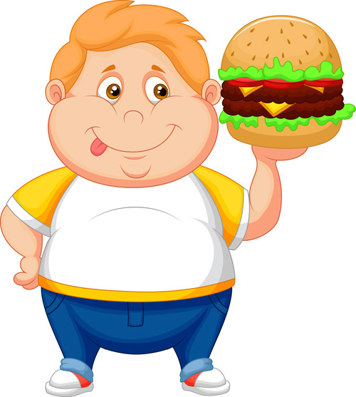 chubby kid with a cheeseburger